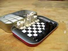 Mini Chess board from Altoids tin. Fun Crafts, Crafts For Kids, Pocket Game, Mint Tins, Altered Tins, Tin Art, Small Tins, Altoids Tins, Operation Christmas Child