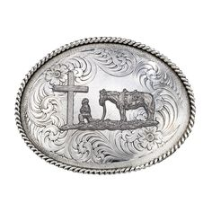 Horse and Rider kneeling at cross belt buckle- need this for riding/shows! So sweet!