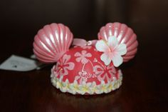 New Disney Aulani Pink Hibiscus Shell Mouse Ears Hat Ornament Hawaii Exclusive