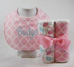 bib and burp cloth bundle set little birds/ pink by TwoCoconuts
