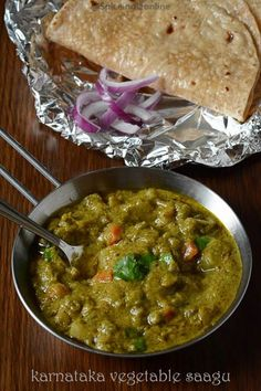 Vegetable Saagu is a coconut based gravy from Karnataka. more like our Vegetable kurma but with much more color and flavor, a great side dish for idli dosa poori or chapathi. Veg Curry, Vegetable Curry, Aloo Curry, Masala Curry, Vegetarian Cooking, Vegetarian Recipes, Cooking Recipes, Chef Recipes, Appetizer Recipes
