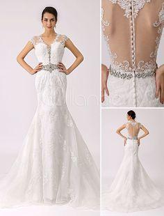 Vestido de noiva de renda V pescoço trompete com pura de volta