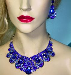 Blue Rhinestone Austrian Crystal Choker Necklace Earring Set Pageant  Drag  #Unbranded