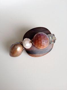 Wood Agate and Pearl Brooch  Brown Brooch by LittleGemsByLuisa