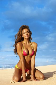 Irina Shayk photographed by Bjorn Iooss for @Sports Illustrated Swimsuit #PinkOctober #NBCAM