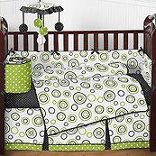 Spirodot Lime 9 Piece Crib Bedding Set