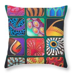 Reef Designs Viii Throw Pillow by Maria Rova