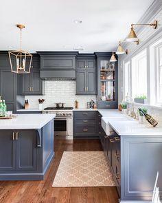 Dark Blue Cabinets With White Countertops With Subway Tile As Backsplash Love This Farmhouse Look Kitchen Design Decor Kitchen Design Interior Design Kitchen