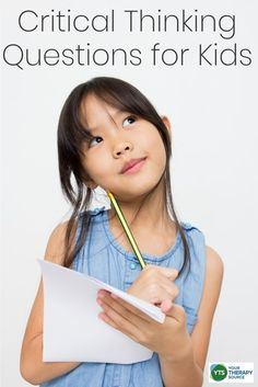 Critical thinking questions for kids build problem-solving skills and also boosts executive functioning skills in students. Coping Skills Activities, Child Development Activities, Problem Solving Activities, Problem Solving Skills, Learning Activities, Pediatric Occupational Therapy, Critical Thinking Skills, Building For Kids, This Or That Questions