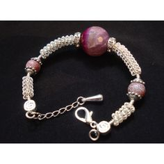 Contemporary Silver Wire Wrapped Agate Bracelet, Beaded Bracelet,... (€30) ❤ liked on Polyvore featuring jewelry, bracelets, fuschia jewelry, silver jewellery, silver bangles, wire wrapped bangles and agate jewelry