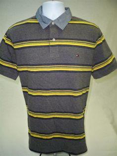 Tommy-Hilfiger-Mens-Short-Sleeve-Gray-Striped-Polo-Shirt-Custom-Fit-Size-L-Golf