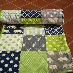Baby Quilt,navy,grey,lime green,baby boy bedding,baby girl quilt,bears,deer,stag,woodland,rustic,organic,chevrons,toddler,Bear Hike in Lime