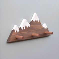 Mountain Peak Wallhooks, Woodland Nursery Decor, Woodland Decor, Mountain Wall Hook, Wooden Wall Hook for Kids by hachiandtegs on Etsy https://www.etsy.com/listing/505024485/mountain-peak-wallhooks-woodland-nursery