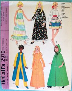 McCalls Pattern 2970 Dawn Dolls Dawn dolls are one of my favorites. At inches tall they are just the right size to be Doll House friendly. A whole bunch of them can fit in a shoe box. They are travel-friendly, great for long car trips and RV camping. Barbie Sewing Patterns, Doll Dress Patterns, Sewing Dolls, Vintage Sewing Patterns, Clothing Patterns, Fashion Patterns, Barbie Und Ken, Barbie Dolls, Barbie Stuff