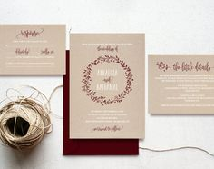 This listing is for a Merlot Rustic Wreath Wedding Invitation Set PDF Instant Download. Purchase this listing to receive 4 high resolution