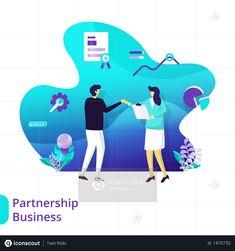 Landing Page Partnership Business Illustration Business Illustration, Photo Illustration, Illustrations, Finance Bank, Vector Format, Icon Pack, Mobile App, Free Design, Landing