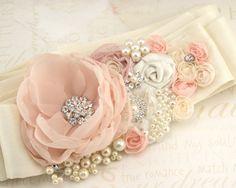 Bridal Sash- Wedding Sash in Blush Pink and Ivory with Dupioni Silk and Chiffon