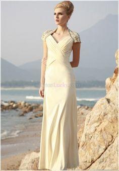 V-neck Empire Short Sleeve Long/Floor-length Satin Evening Dresses With Criss-Cross ED1C58