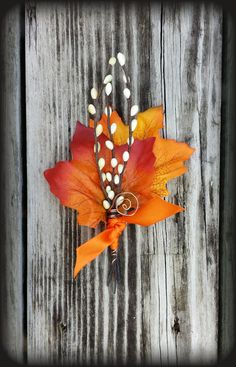 MENS Fall Wedding Boutonniere Maple & Twigs by TellableDesign