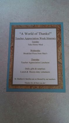 """You Mean The World to Us"" teacher appreciation ""itinerary"" featuring the week's events & special international-themed days"