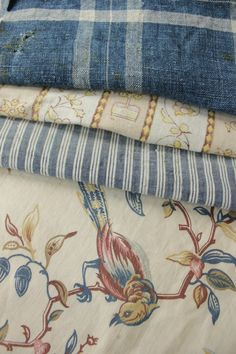 c. 1900-1910 Antique Vintage French fabrics materials ~Project Bundle ~ aged blues | eBay