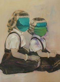 """Saatchi Online Artist: Alena Adamikova; Oil 2011 Painting """"She and her Sister"""""""