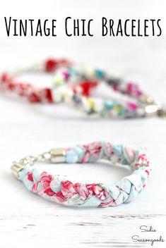 Vintage handkerchiefs are ideal for upcycling projects and repurposing ideas. And these boho bracelets - Diy and crafts interests Boho Jewelry, Jewelry Crafts, Vintage Jewelry, Jewlery, Country Jewelry, Cowgirl Jewelry, Beading Jewelry, Bullet Jewelry, Bracelet Crafts
