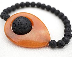 Unique Stone Bracelet, Santorini Black Lava Stone Bracelet. Earthy Red Aventurine Natural Stone Bracelet. Tribal Boho Meditation Bracelet https://www.facebook.com/nancy.l.addante