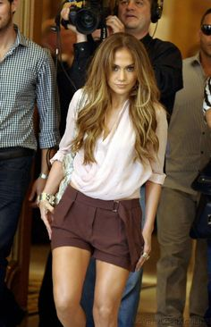 Jennifer Lopez. I like the shirt and the color/most of the style of her shorts.