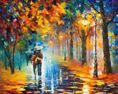 Love Wall Decor Painting Couple On Canvas By Leonid Afremov - Autumn Hug