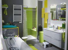 Le meuble gris galet qui s'intègre parfaitement dans une petite ou une grande salle de bains