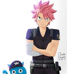 natsu and Happy as Cops