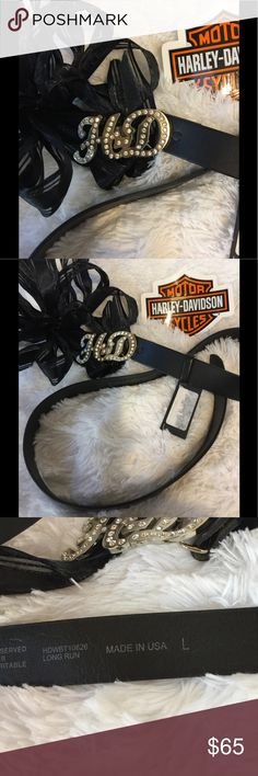 NWT Harley Davidson Leather Belt Awesome HD Belt , NWT all cowhide leather, and white Crystals.  No pets/smoke closet Harley-Davidson Accessories Belts