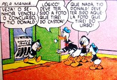 Pato Donald ganha um prêmio de fotografia, ilustração Walt Disney.