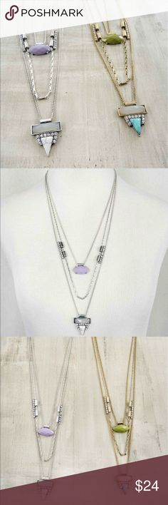 SILVER tone, LILAC,GREY, WHITE, w crystal necklace Cute summery necklace, versatile and love the elongated look, flattering on everyone. Jewelry Necklaces