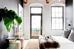 industrial Bedroom with white brick thebowerbirds: Source: Tamara Magel Ugh, how much do I love. Bedroom Loft, Home Bedroom, Bedroom Decor, Bedrooms, Brick Bedroom, Bedroom Ideas, Bedroom Retreat, Bedroom Inspiration, Design Bedroom