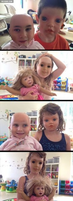 Face swaps of children and their dolls.