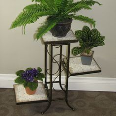 Found it at Wayfair - Multi-Tier Plant Stand with Travertine Top