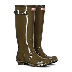 Hunter Original Tall Gloss Wellies   Freemans ($140) ❤ liked on Polyvore featuring shoes