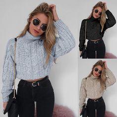 Women s Crop Top Turtleneck Twisted Knit Sweaters. Sweater CardiganCrop ... b7f27dfc2