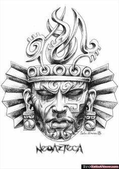 Awesome Aztec Mask Tattoo Design By Pedro Alvarez Head Tattoos, Body Art Tattoos, Tattoo Drawings, Tattoo Pied, Aztec Warrior Tattoo, Aztec Drawing, Aztec Mask, Mayan Tattoos, Aztec Tattoo Designs