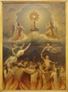 The Holy Souls in purgatory, Angels, and saints adoring Jesus in the Most Holy Sacrament of the Altar.
