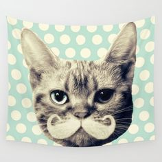 Kitten Wall Tapestry. #collage #animals #mixed-media #illustration #cat #moustache #kitten #cats #cute #hipster