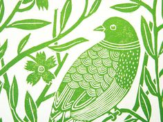 Linocut Block Print  Green bird with flowers by AmeliaHerbertson, $35.00