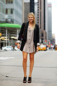 love that floaty, button-down dress.   (from the Sartorialist)