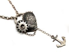 Small silver cog and heart necklace – by Karen Smith