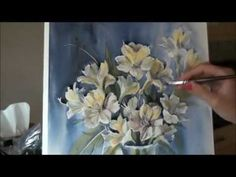 Tutorial. Painting flowers in watercolor. Pretty white flowers and blue wash background. Please also visit www.JustForYouPropheticArt.com for more colorful art you might like to pin. Thanks for looking!