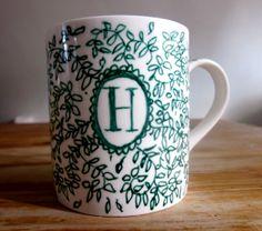 Personalised Initial Ceramic Mug with by AmandineRoseDesigns, £11.00