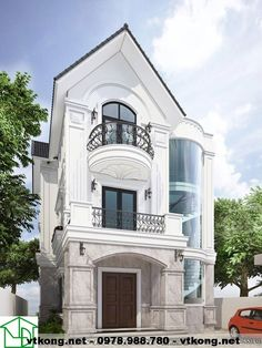Biệt thự tân cổ điển, biệt thự bán cổ điển NETBT3T3 Cluster House, Mexico House, Neoclassical Architecture, Narrow House, House Front Design, House Elevation, Architect House, Dream House Plans, Modular Homes