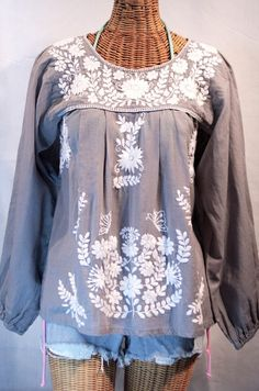 """""""La Mariposa Larga"""" Embroidered Mexican Style Peasant Top in Grey by Siren.  #summer"""